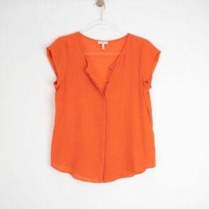 Joie Orange Silk Button-Up Blouse
